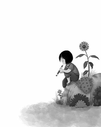 bicho@zoo, girl playing the record, girl playing flute, sunflower, book for children, children illustration, digital art, girl in a garden, laura gonzalez, illustrator, picture book