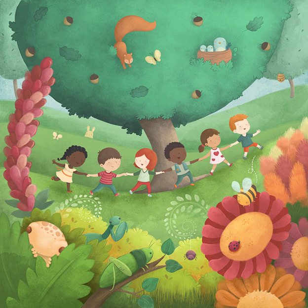 happy children, holding hands, ecosystem and nature, biodiversity, friendship and unity, environment for kids, eco garden, flowers and bugs, laugonzalez, children illustration, digital art, laura gonzalez, illustrator, picture book