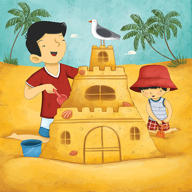 , sand castle, family vacation, family at the beach, book for children, children illustration, digital art, asian father and son, beach, sand, laura gonzalez, illustrator, picture book